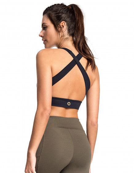 Crossed Back Bra Top - Black - Activewear Brazil