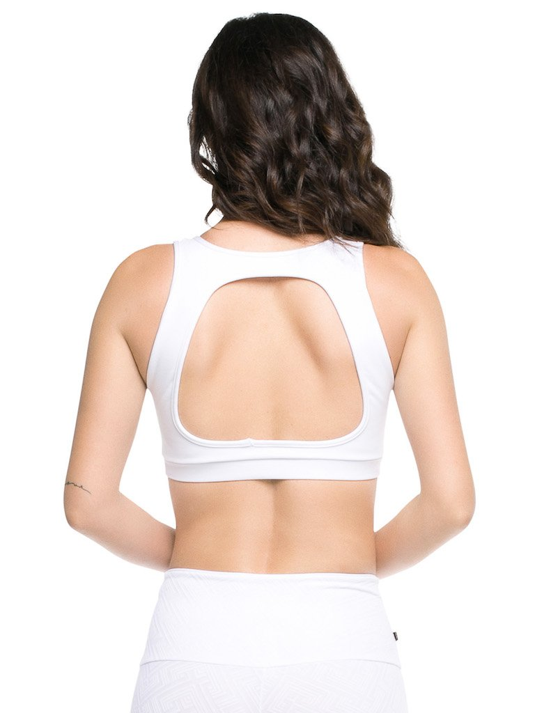 White Open Back Top - Padded - Activewear Brazil