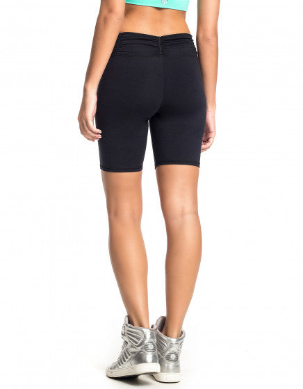 Supplex Shorts with Gathered Waist - Black - Activewear Brazil