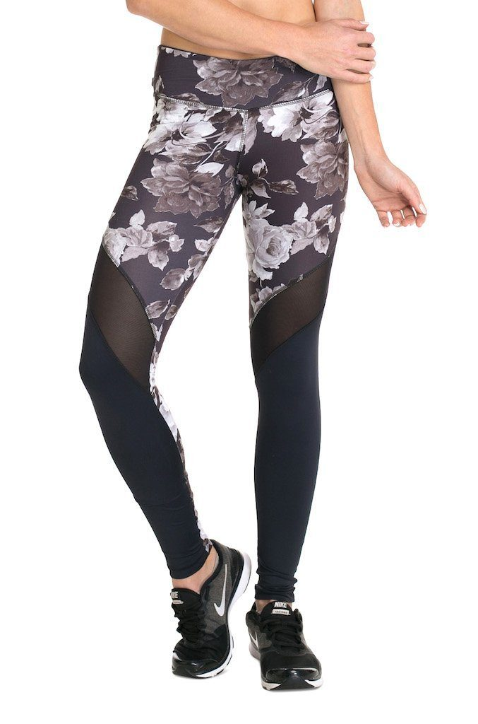 Floral Mesh F/L Tights - Regular Rise - Activewear Brazil