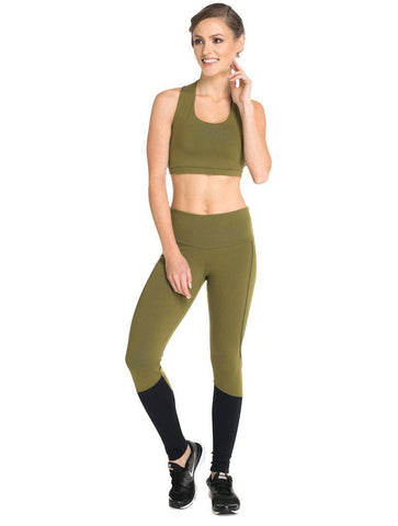 Khaki Block Supplex Compress F/L Tights - High Rise - Activewear Brazil