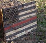 Hand Crafted Southern Pine Red Line Of Courage American Flag W/ Brass Stars