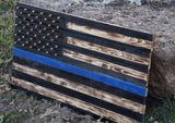 Hand Crafted Southern Pine Thin Blue Line American Flag W/ Brass Stars