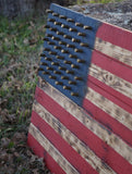 Hand Crafted Southern Pine Red White and Blue American Flag W/ Brass Stars