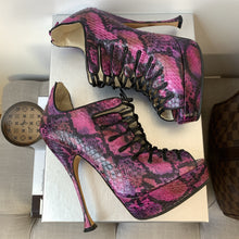 Brian Atwood Naiyabis Purple Snakeskin 140 MM Heels Size 36 - At One Boutique, LLC