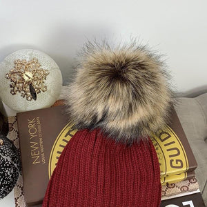 Faux Fur Pompom Ribbed Beanie Winter Hat In Red & Brown - At One Boutique, LLC