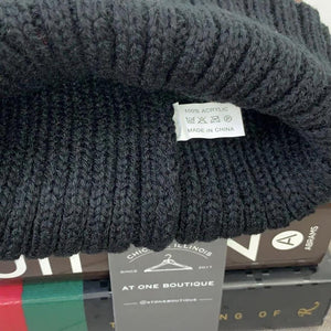 Faux Fur Pompom Ribbed Beanie Winter Hat In Black & Black - At One Boutique, LLC