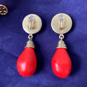 Tory Burch Stone Drop Statement Earrings in Vintage Brass / Burgundy / Bright Red