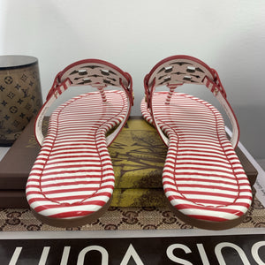 Tory Burch Red & White Stripe Miller Nantucket Sandals Size 6 - At One Boutique, LLC