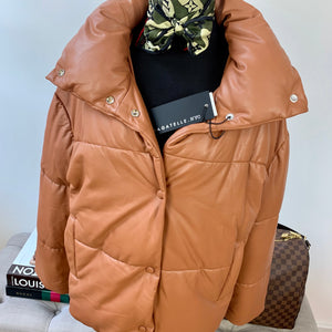 Bagatelle . NYC Faux Leather Puffer Jacket Saddle Size S
