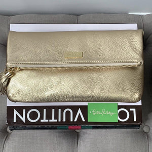 Lilly Pulitzer Seaside Clutch in Gold Metallic w/ Tassel - At One Boutique, LLC