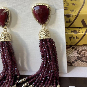 Kendra Scott Blossom Statement Tassel Earrings Bordeaux Tigers Eye - At One Boutique, LLC