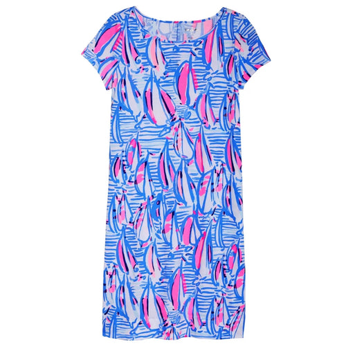 Lilly Pulitzer Short Sleeve Marlowe Dress in Blue Haven Pop Up Red Right Return Size Small NWT