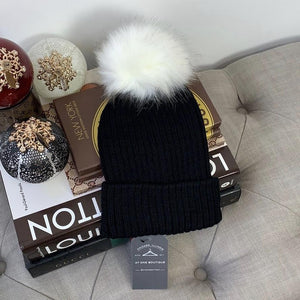 Faux Fur Pompom Ribbed Beanie Winter Hat In Black & White - At One Boutique, LLC