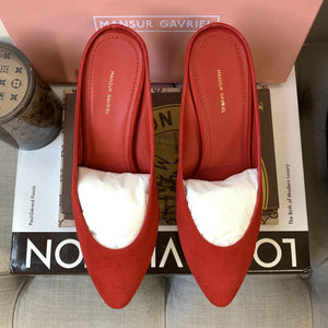 Mansur Gavriel Suede 65 MM Heel Slipper in Flamma Size 36 - At One Boutique, LLC