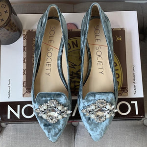 Sole Society Libry in Cloud Blue Crushed Velvet Flats Size 6 - At One Boutique, LLC