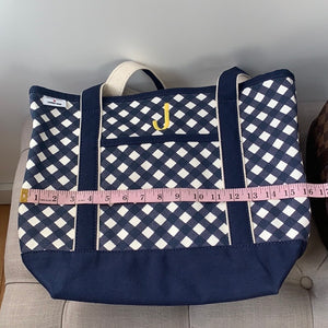 "Draper James x Lands' End Classic Canvas Tote ""J"" Monogrammed Initial"