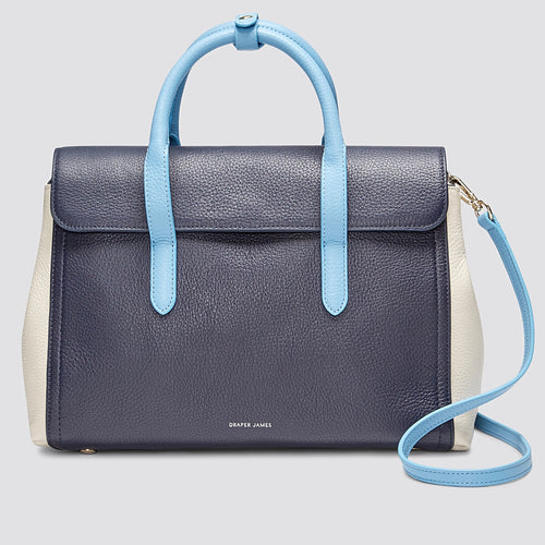 Draper James Leather Satchel Bag in Navy Multi