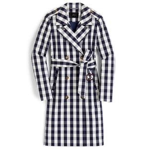 J. Crew 2011 Icon Trench Coat in Oversized Gingham Size 2 NWT