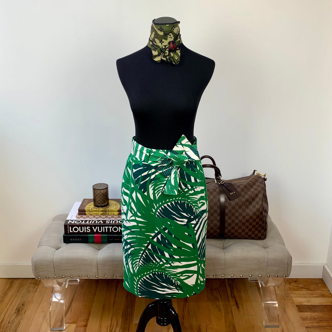 1901 from Nordstrom Tropical Leaf Print Twill Belted Skirt Size 2