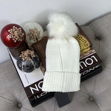 Faux Fur Pompom Ribbed Beanie Winter Hat In White & Ivory - At One Boutique, LLC