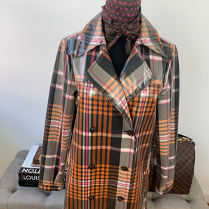 Something Navy Water Resistant Plaid Glossy Trench Coat Size Medium
