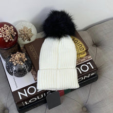 Faux Fur Pompom Ribbed Beanie Winter Hat In White & Black - At One Boutique, LLC