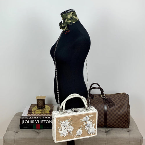 Patricia Nash Wicker Lamezia Satchel White Floral - At One Boutique, LLC