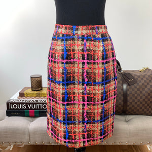J. Crew Collection Electric Plaid Pencil Skirt Size 0