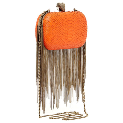 House of Harlow Jude Clutch in Orange Snake