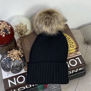 Faux Fur Pompom Ribbed Beanie Winter Hat In Black & Brown - At One Boutique, LLC