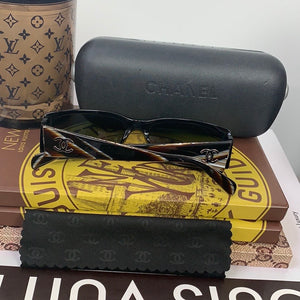 Chanel 5078 c.820/87 135 Black/Beige CC Logo Patterned Arms Designer Sunglasses