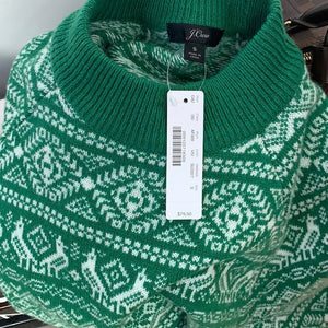 J. Crew NWT Cheerful Fair Isle Mock-neck Sweater Size Small