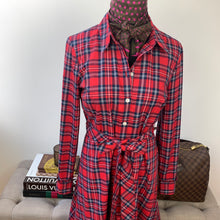 Draper James Angie Check Belted Shirtdress Size 4 NWT
