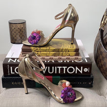 Betsey Johnson Quinn Glitter Floral Gold Heels Size 6 - At One Boutique, LLC