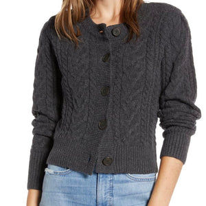Something Navy Crewneck Cable Cardigan NWT Size Medium