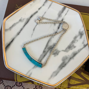 Monica Vinader Silver Linear Turquoise Stone Chain Bracelet