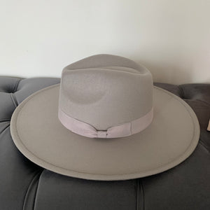 Grey Rancher Hat with Bow Ribbon Detail