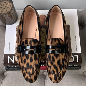 J. Crew Academy Penny Loafers In Leopard Calf Hair Size 9 - At One Boutique, LLC
