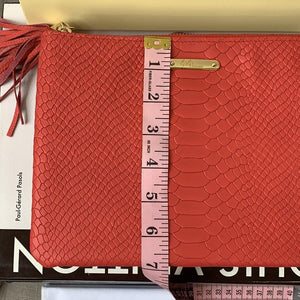 GiGi New York Uber Zip Top Clutch Bag Embossed Red Python w/ Gold Hardware & Tassel - At One Boutique, LLC