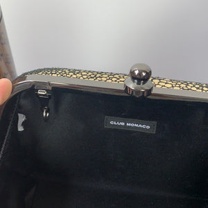 Club Monaco Zar Box Clutch Bag Gold