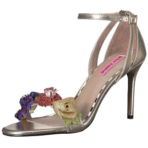 Betsey Johnson Quinn Glitter Floral Gold Heels 5.5 - At One Boutique, LLC