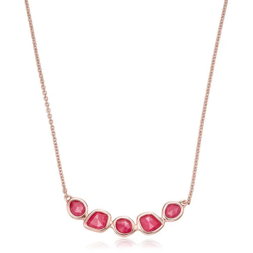 Monica Vinader Siren Mini Nugget Cluster Necklace in Pink Quartz