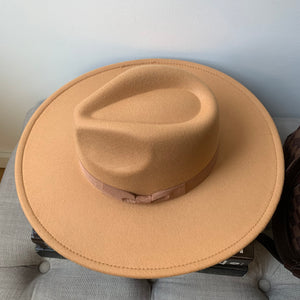Gold Rancher Hat with Bow Ribbon Detail
