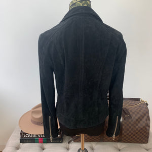 BLANKNYC Suede Moto Jacket in Black Size Medium