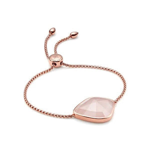 Monica Vinader Siren Nugget Cocktail Friendship Chain Bracelet in Rose Quartz