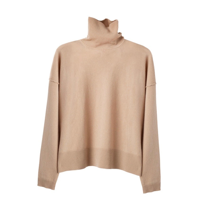 Cuyana Wool Cashmere Turtleneck Sweater Camel Size XS