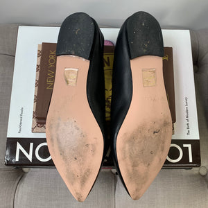 J. Crew Gemma Ballet Flats in Black Leather Size 8