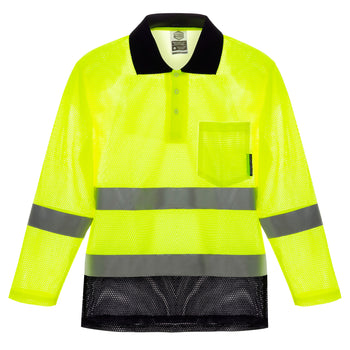 Cooley Hi-Vis Mesh Long Sleeve Shirt - Yellow/Navy