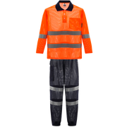 Cooley Hi-Vis Mesh Long Sleeve Shirt & Cargo Pant Set - Orange/Navy